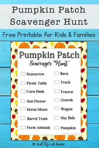 Free Printable Pumpkin Patch Scavenger Hunt for Kids and Families