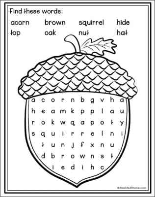 Acorn Word Search Printable for Kids