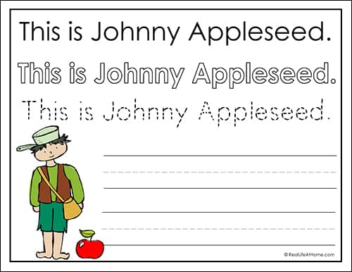 image regarding Johnny Appleseed Printable Story known as Johnny Appleseed for Small children: Johnny Appleseed Copywork Free of charge