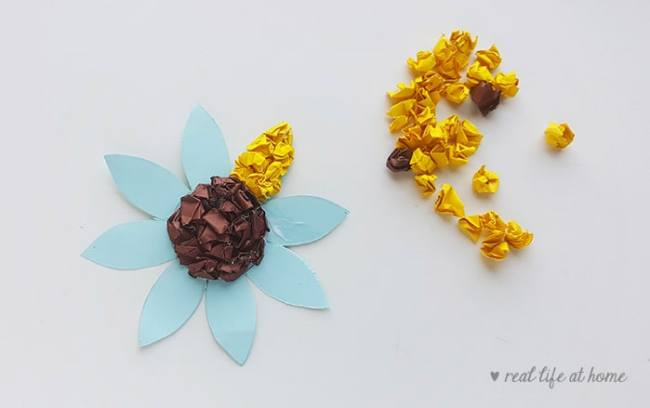 Sunflower Craft for Kids - in process (step 4)