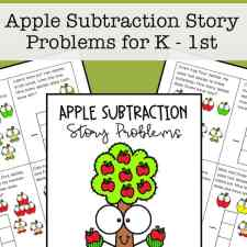 Free printable math task cards for kindergarten and 1st grade students to work on basic subtraction story problems with helpful pictures.