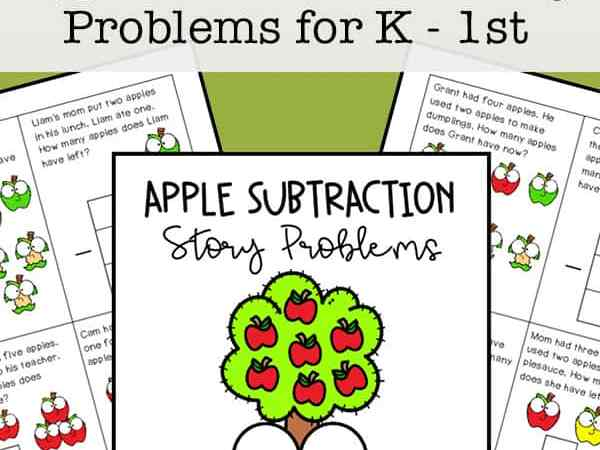 Apple Subtraction Story Problems Printables: Free Math Task Cards for Kindergarten to 1st Grade