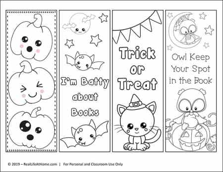 Color Your Own Halloween Bookmark Set from Real Life at Home