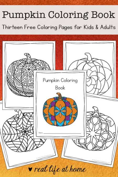 Looking for more intricate pumpkin coloring pages? Enjoy this free printable coloring book filled with 13 pumpkin coloring pages for kids and adults.