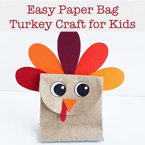 Easy paper bag turkey craft for kids with a free printable template. This uses cheap supplies making it a great inexpensive Thanksgiving craft for kids.