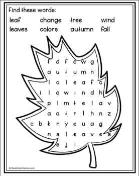 Fall Leaves Word Search from Real Life at Home