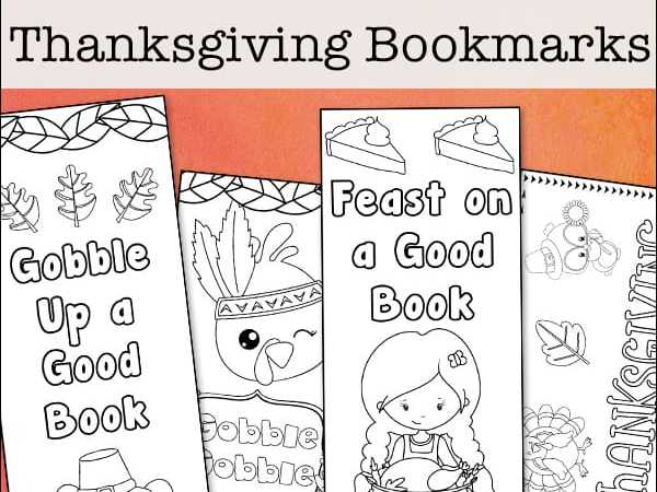Free Printable Thanksgiving Bookmarks to Color