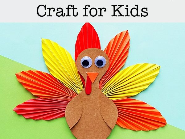 Folded Paper Turkey Craft for Kids (with Free Printable Template)