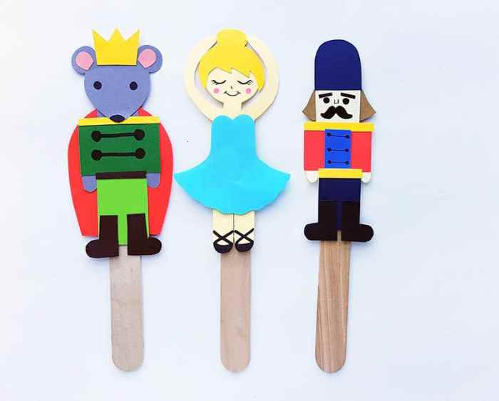 Nutcracker Ballet Stick Puppet Crafts for Kids (with Free Printable Templates)