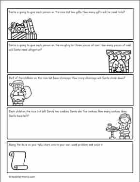 Christmas Story Problems page (from free Christmas Math packet from Real Life at Home)