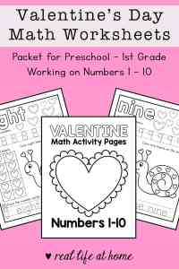 Valentine's Day Math Worksheets: Packet for Preschool - 1st Grade Working on Numbers 1 - 10