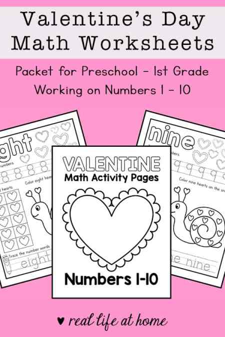 Valentine's Day Math Worksheets - Packet for Preschool - 1st Grade Working on Numbers 1 - 10