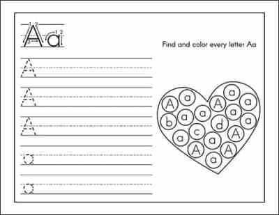 Letter Practice Page for Aa - from the Valentine's Day Alphabet Printables Packet from Real Life at Home