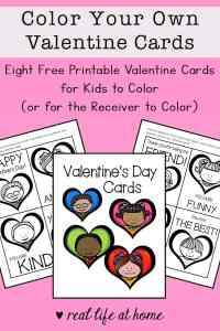 Free Printable Valentine Cards to Color for Kids from Real Life at Home
