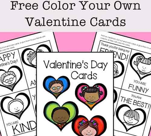Free Printable Valentine Cards to Color for Kids (Set of 8 Cards)