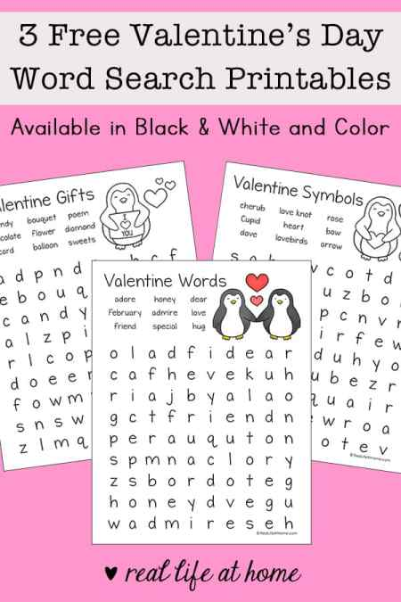 Three Free Valentine's Day Word Search Printables for Kids