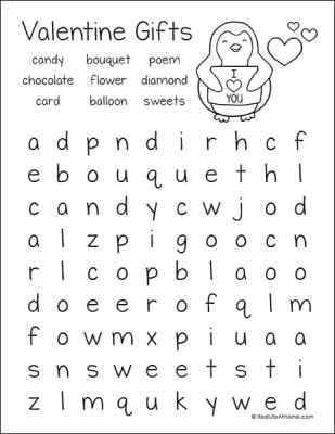 Valentine's Day Gifts Word Search Printable (from the Free Valentine's Day Word Search Printable Set on Real Life at Home)