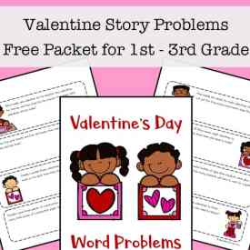 Valentine's Day Story Problems Free Packet (Valentine's Day Math Worksheets Free Packet)