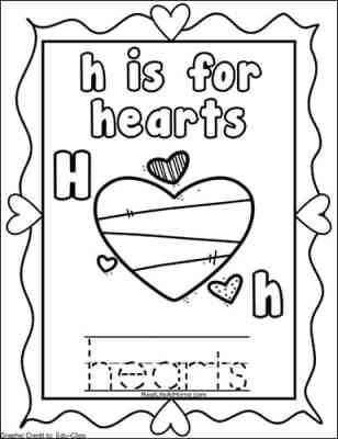 The Letter H page from the free Valentine's Day Coloring Pages Alphabet Packet on Real Life at Home