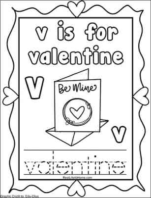 The Letter V page from the free Valentine's Day Coloring Pages Alphabet Packet on Real Life at Home