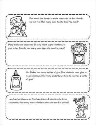 Free Valentine's Day Math Worksheets featuring story problems for 1st - 3rd Grade