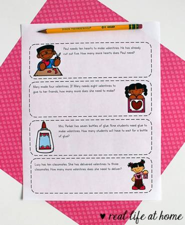 Free printable Valentine's Day math worksheets packet for 1st - 3rd grade