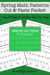 Spring Math Patterns Cut and Paste Packet for Preschool - 1st Grade