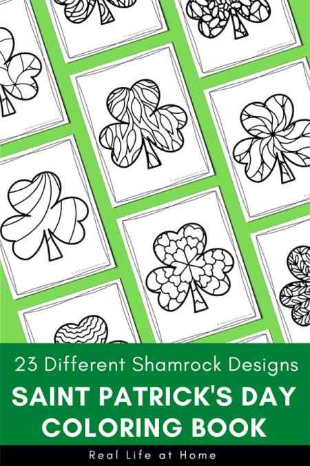 23 Different Shamrock Designs: Saint Patrick's Day Coloring Book