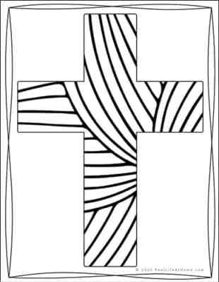 Decorative Cross Coloring Page from Real Life at Home