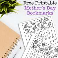 Cute Color Your Own Mother's Day Bookmarks for Kids (Free Printable)