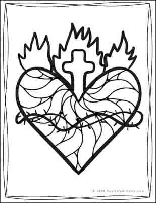 Sacred Heart of Jesus Coloring Sheet