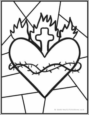 Sacred Heart Stained Glass Coloring Page (from Real Life at Home)