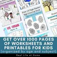 Printables and Worksheets from Real Life at Home