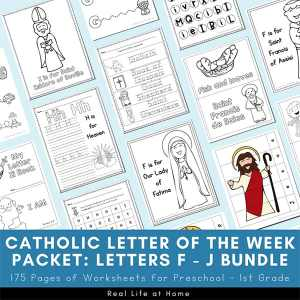 Catholic Letter of the Week Bundle for Letters F - J