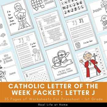 Catholic Letter of the Week - Letter J Packet