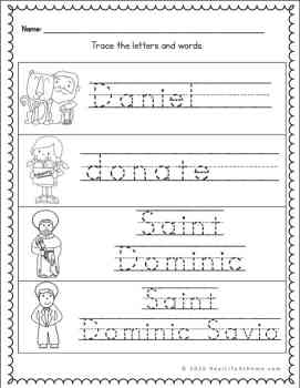 D handwriting page for Catholic kids