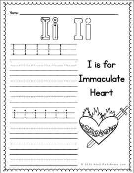 Immaculate Heart handwriting page