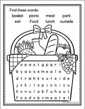 Picnic Word Search Printable