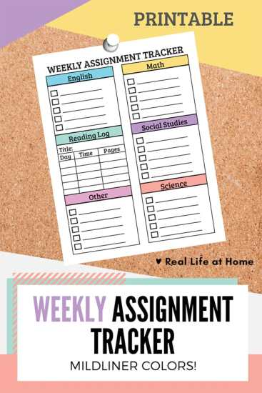 Weekly Assignment Planner Sheet for Students