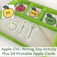Sand Tray Writing with 24 Apple Cards for Teaching CVC Words