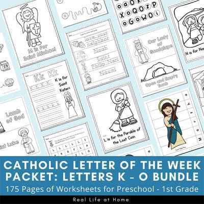 Catholic Letter of the Week Packets for K, L, M, N, and O