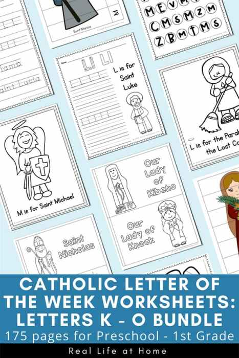 Catholic Letter of the Week Packets for K, L, M, N, O