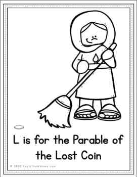 Coloring Page for The Parable of the Lost Coin