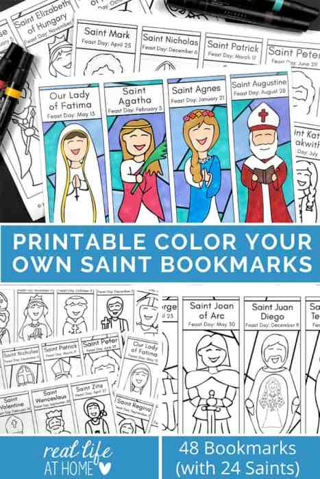 Printable Color Your Own Saint Bookmarks