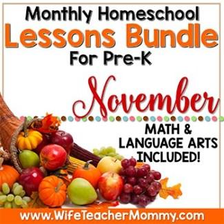 November Lesson Bundle for PreK