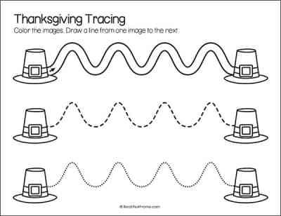 Pilgrim Hat Line Tracing Printable