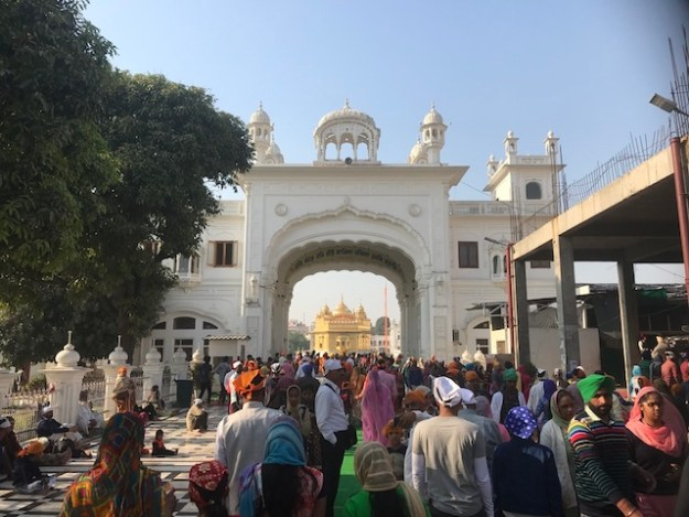 Approaching the Golden Temple in Amritsar from the Langar Hall