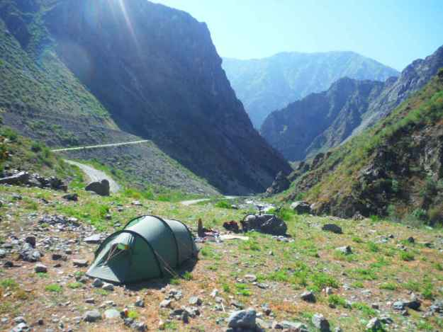 camping in the mountains of central asia