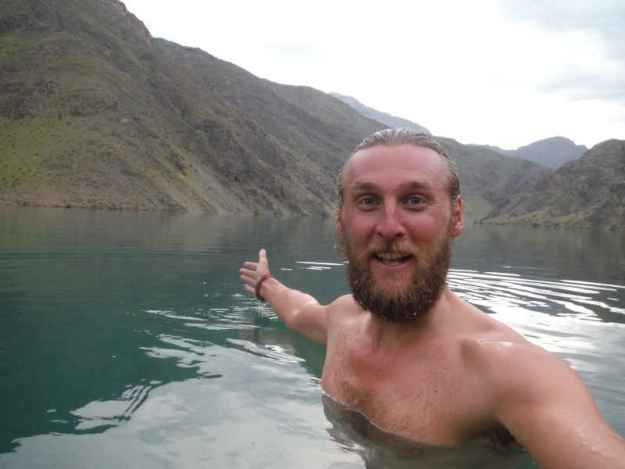 wild swimming in the river Naryn