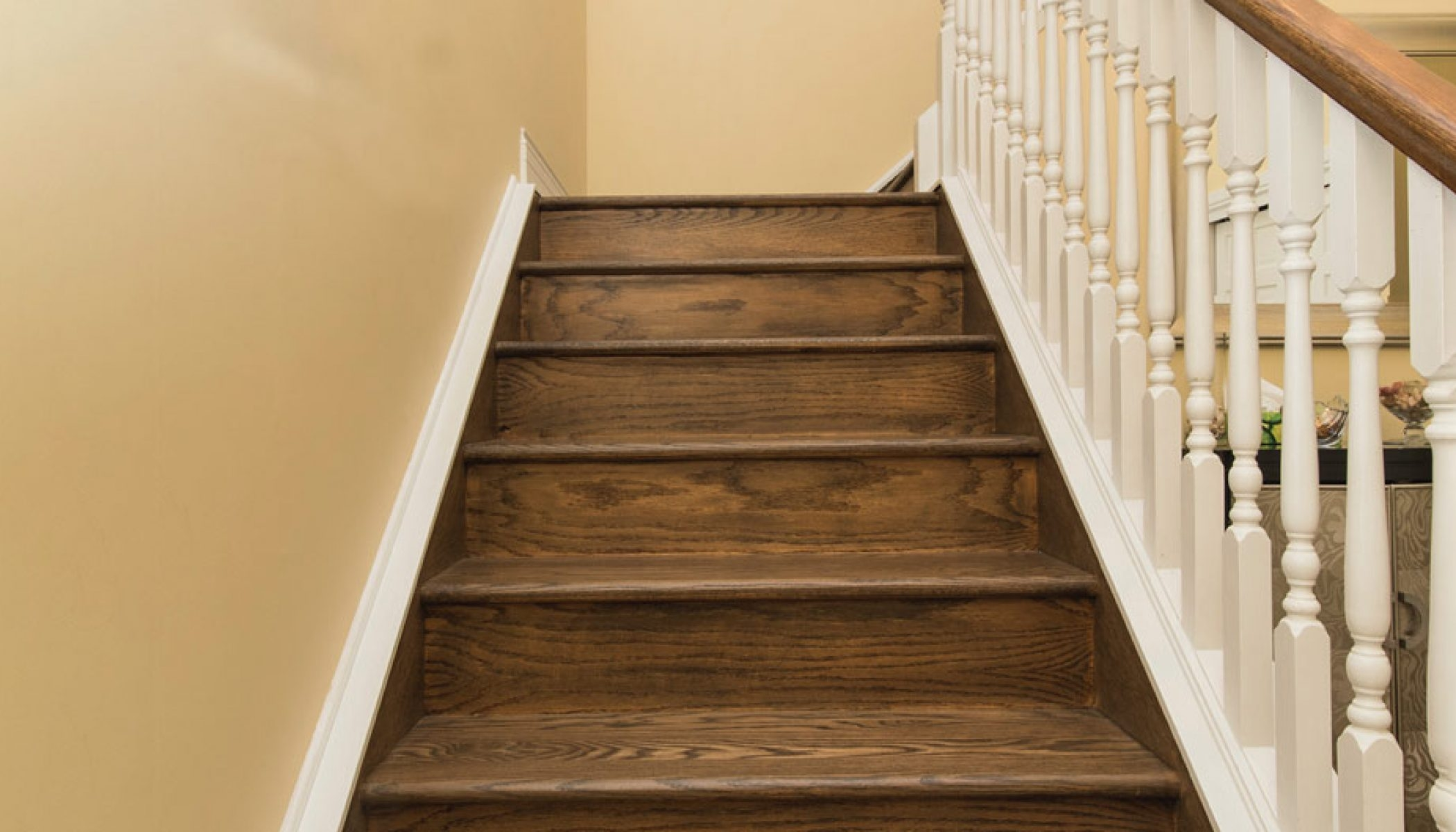 You Want To Install Hardwood On Stairs – Reallycheapfloors | Dark Stained Stairs With White Risers | Restain | Tread | 2 Colour | Staining | Glossed